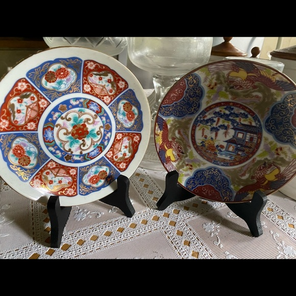 Vintage Japanese Mini Plates with stand